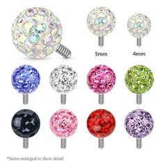 Dermal Anchors Grade-23 Solid Titanium Base /& 5mm Clear Crystal Tops 25pc