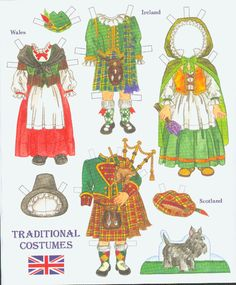 Traditional costumes of Wales, Ireland and Scotland. Page 4 of 8 Page book available for purchase at paperdollreview.com.