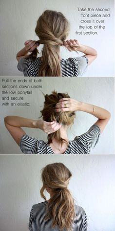 hair tutorial: messy crossover pony (truelane) I always like. Loubna Ait Hair hair tutorial: messy crossover pony (truelane) I always like the idea of wearing my hair up, but I hate feeling like w Hair Day, Hair Looks, Hair Lengths, Curly Hair Styles, Long Hair Ponytail Styles, Lazy Girl Hairstyles, Ponytail Hairstyles Tutorial, Twisted Ponytail, Fancy Ponytail