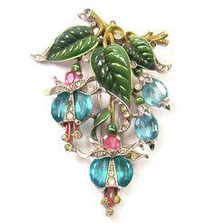 TRIFARI 'Alfred Philippe' Aquamarine Demilunes, Pink Ovals, Enameled 'Fuchsia' Pin/Clip