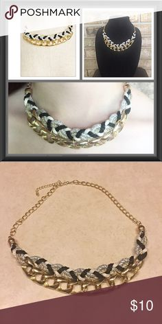 """Unique & Chic Statement Necklace Gold Unique & Chic statement necklace. Gold chain with black, white, gold & silver intertwined rope. 18"""" + extender & lobster clasp ⭐️⭐️⭐️⭐️⭐️ Jewelry Necklaces"""