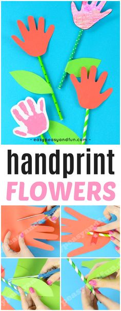 Handprint Flower Craft. Simple and fun Spring craft idea for kids to make.