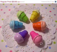 1 Ice Cream Cone Charms Cute Sweet Rainbow Polymer Clay Charms (Pink)