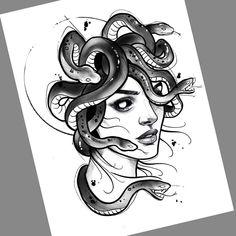 Desenho criado pelo artista brasileiro Felipe (phil.tattoo) do Rio de Janeiro.    Medusa. Anime Tattoos, Leg Tattoos, Black Tattoos, Body Art Tattoos, Sleeve Tattoos, Medusa Drawing, Medusa Art, Medusa Tattoo Design, Tattoo Designs