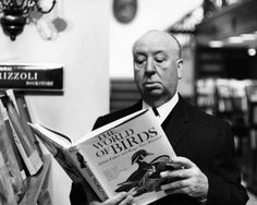 """Alfred Hitchcock reading, """"The World of BIRDS"""" :)"""