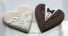 Heart shaped Wedding Dress and Tuxedo cookies
