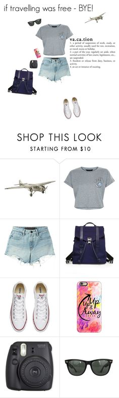 """if travelling was free - BYE"" by xxkrissixx ❤ liked on Polyvore featuring AM-Living, New Look, T By Alexander Wang, Proenza Schouler, Converse, Casetify, Fuji and Ray-Ban"