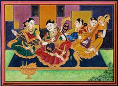 Carnatic Musicians by artist Radhika Ulluru, is Mysore #traditional based #painting with modern touch-   https://www.artzolo.com/painting/carnatic-classical-musicians?id=61829 @ArtZolo.com