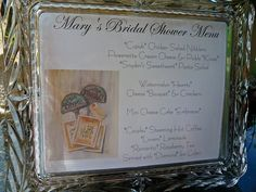 Cute Idea for a Wedding Shower Menu  @Mary Snyder