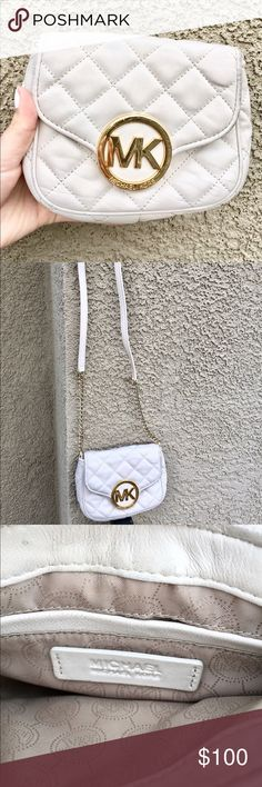 Michael Kors quilted soft leather crossbody! Cream and gold Michael Kors soft leather quilted crossbody! It is a little worn on the back from rubbing against jeans but other than that it's in great condition! Can't go wrong with this accessory! Can negotiate on price, make me an offer! Michael Kors Bags Crossbody Bags
