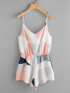 Color Block Elasticized Waist Cami Romper