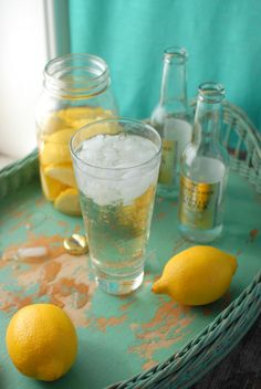 Homemade Lemon Infused Vodka - Vodka Tonic -  2 cups vodka (neutral flavor)·           3 medium lemons,  rinsed well and quartered·           Quart size any jar with a sealing lid  Lemon Vodka Tonic - 1 1/2 oz. lemon infused vodka / tonic water