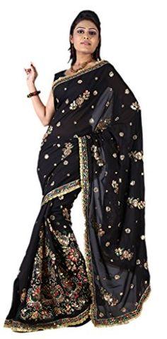 PSD IndianAttire Women's Wedding Partywear Sequins Embroidery Saree Sari wrap fabric