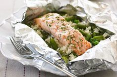 A simple-to- prepare combination of rice, salmon, veggies and sauce all in one packet