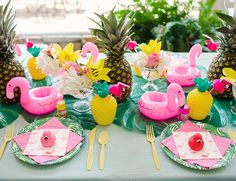 Pink Flamingo Birthday Party - flamingo party tableware - Inspired by This