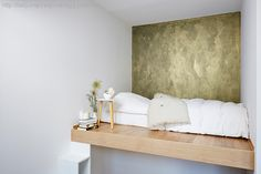 Gold wall, Pure color 5180 Oslo as base Jotun Paint, Gold Walls, Floating Nightstand, Entryway Bench, Designing Women, Paint Colors, Colours, Flooring, Pure Products