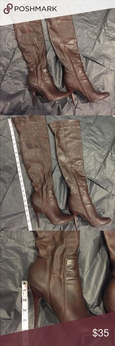 Brown leather Aldo over the knee boots Gorgeous over the knee leather boots, looks to be about a 4.5 inch heel. Great used condition! Aldo Shoes Over the Knee Boots