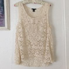 Crochet summer top Beautiful crochet top one size, perfect for spring/summer coming up. It can be used as a cover up. No stains or rips, perfect gently use condition. BUNDLE & SAVE 25% ❌TRADES❌ Tops Tank Tops