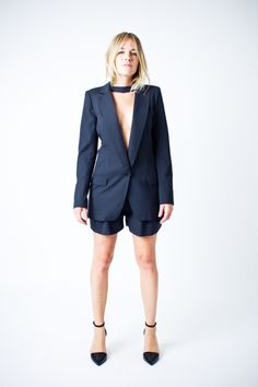 Smythe Long Notched Blazer with Removable Choker and Pleated Short in Carbon