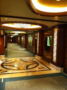 One of the grand corridors on Queen Elizabeth