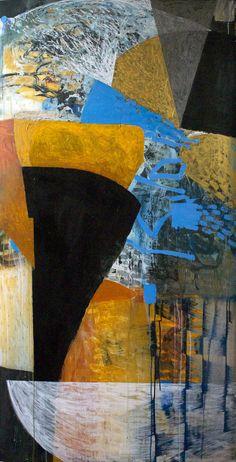 """blue-yellow drift_verso"" april 10, 2014 36"" X 65"" acrylic on translucent mylar. Lance Austin Olsen"