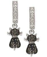 Victoria Townsend Sterling Silver Earrings, Black Diamond Accent Cat Drop Earrings