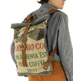 Tacuba Rolltop Coffee Sack Backpack by Bare on Scoutmob Shoppe. Bag on bean swag with this Tacuba burlap coffee sack backpack.