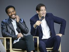Andre Holland (L) and Clive Owen attend 'Meet the Actors' to discuss the new season of their Showtime series 'The Knick' at Apple Store Soho on October 12, 2015 in New York City.  Jenny Anderson, WireImage
