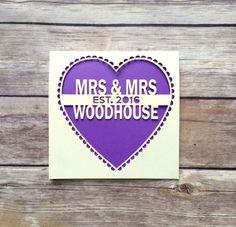Personalised Gay Wedding Card, Same Sex Wedding Card, Mrs and Mrs, Mr and Mr, Papercut, Anniversary Card, Lesbian Wedding Card, LGBT