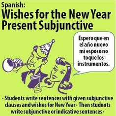 "$ Spanish - Wishes for the New Year with Present Subjunctive. Students write sentences with the subjunctive clauses and ""wishes."" Then, they need to decide if sentences in the next section should use subjunctive or indicative mood and write them."
