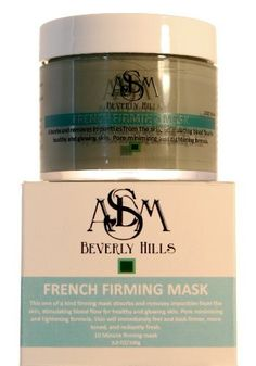 """French Firming Face Mask by ASDM Bevelry Hills. $19.95. What it is: This one of a kind firming mask absorbs and removes impurities from the skin, stimulating blood flow for healthy and glowing skin. Pore minimizing and tightening formula. Skin will immediately feel and look firmer, more toned, and radiantly fresh. 10 Minute firming mask More information about French green clay: French Green Clay (Also Known as Illite Clay or Sea Clay) is very absorbent, and literally """"dr..."""