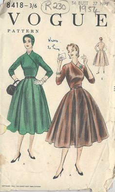 1954 Vintage VOGUE Sewing Pattern B34 ONE-PIECE Dress