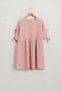 Ribbon Sleeve Point Babydoll Dress, Pink