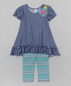 Love this Denim Flower Tunic & Stripe Leggings - Toddler & Girls on #zulily! #zulilyfinds