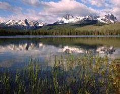 Scenic lake and mountain range in Idaho.
