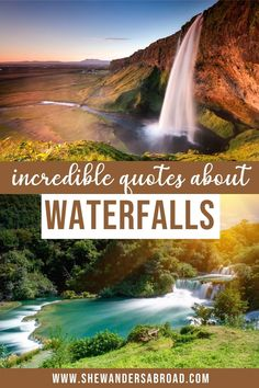 The best waterfall quotes and waterfall captions for Instagram. Including inspirational quotes about waterfalls, hilarious waterfall puns and many more! | Inspirational waterfall quotes | Adventure waterfall quotes | Funny waterfall quotes | Nature waterfall quotes | Waterfall puns | Instagram captions waterfalls | Don't go chasing waterfalls | Waterfall quotes for Instagram | Short waterfall quotes | Waterfall quotes nature | Waterfall quotes adventure | Waterfall quotes life | Travel… Waterfall Quotes, Adventure Quotes, Adventure Travel, Travel Hacks, Travel Tips, Very Inspirational Quotes, Hiking Photography