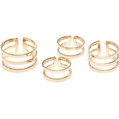 Double Slit Ring Set ❤ liked on Polyvore featuring jewelry, rings, accessories, joyas and set rings