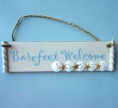 Beach Decor Sign Ornament - Nautical Sign Ornament w Shells, Starfish, Sand Dollars. For beach house