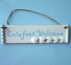 Beach Decor Sign Ornament - Nautical Sign Ornament w Shells, Starfish, Sand Dollars. For beach house