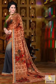 New arrival launch grey copper printed party saree with 2 in 1 stylish fashion on online shop. Buy best designer collection of casual saree is magnified with lace border and georgette, brasso, silk and jacquard fabrics. #sarees, #casualsaree, #dailywearsaree, #2in1stylesarees, #printedsaree, #weddingwearsaree, #newyearsareecollection, #partywearsarees More : http://www.pavitraa.in/store/casual-saree/ Call / WhatsApp : +91-76982-34040  E-mail: info@pavitraa.in