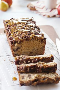 A sweet buttery glaze generously poured over toasted pecans giving it the perfect sweet crunch to each and every bite of the most delicate breakfast pear-bread.  You'll almost forget you're having ...