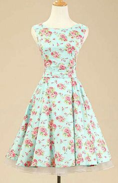 Mint green floral dress.