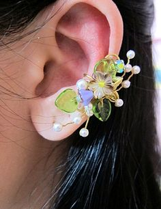 Green Garden Flowers And Bird Ear Cuff Woodland Gold Wings Free Elegant Feminine Bling Nature. $48.00, via Etsy.