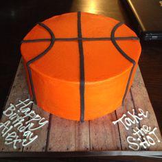 "Basketball cake with buttercream using the ""viva paper towel method."" So much easier than fondant!"