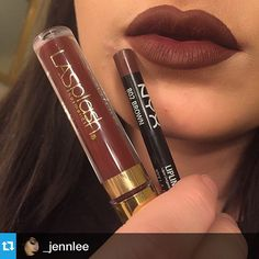 #Repost from @_jennlee with @repostapp --- Loving this lip combo. Pretty much a dupe for Salem by limecrime! And I believe the liquid lipsticks are only around $12. @lasplashcosmetics Untamed & @nyxcosmetics lip liner in Brown #hudabeauty #nyxcosmetics Web Instagram User » Collecto