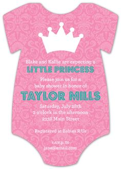 One of the most beautiful and inspired choices within our assortment of princess baby shower invitations comes in the form of the Little Princess Onesie Invitation by Polka Dot Design Digital. If you are seeking out an invitation that blends together. Baby Shower Party Supplies, Baby Shower Parties, Baby Boy Shower, Baby Shower Princess, Babies R Us, New Baby Girls, Baby Design, Little Princess, Homemade Cards