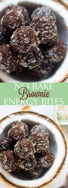 These No Bake Brownie Energy Bites are made with only 5 ingredients, vegan and gluten-free and are a perfect quick healthy breakfast or snack! | jessicainthekitchen.com