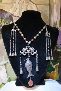 Antique Chinese Qing Dynasty Silver Kylin Figure Bells Necklace | eBay