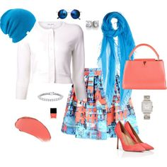 """""""Turquoise & Coral"""" by style-inspiration-and-design on Polyvore"""