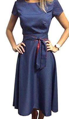 5331e8494b6a TOP-AK Damen Retro Hepburn Dot Taille Große Schaukel Kleid Faltenrock  Sommerkleid mit Schleifen Abendkleider